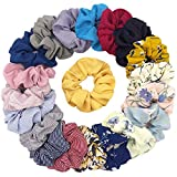 Fashion Craft 20 Pieces Chiffon Flower Hair Scrunchies Hair Ties Striped Hair Bands
