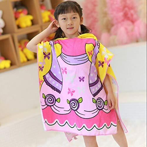 Baby Hooded Badhanddoek Poncho Kinderen Kinderen Badjas Handdoeken Badjas Sneldrogend Absorberend Microfiber Reizen Sport Strandlaken # 8, jurk