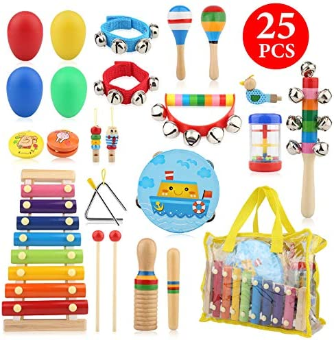 Bukm Kids Musical Instruments Musical Toys for Toddlers 25 Pcs Wooden Musical Percussion Instruments product image