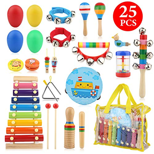 Bukm Kids Musical Instruments Musical Toys for Toddlers 25 Pcs Wooden Musical Percussion Instruments Preschool Educational Learning Tambourine Xylophone Toys for Toddlers Kids Children with Storage