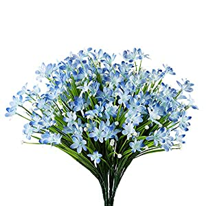 URSTOUD 6 Bundles Artificial Daffodils Flowers, Fake Artificial Greenery UV Resistant No Fade Faux Plastic Plants for Wedding Bridle Bouquet Indoor Outdoor Home Garden Kitchen Office Table Vase