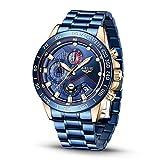 Relojes para Hombre Moda Deportes Impermeable Reloj de Cuarzo Analógico Caballeros Reloj Militar Azul Calendario Reloj de Acero Inoxidable Lujo Oro Cronógrafo