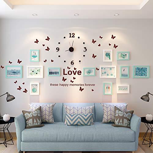 Collage fotolijst, met muursticker volledige grootte opknoping sjabloon muur montage ontwerp klok foto muur voor bank achtergrond