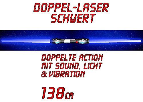 tevenger XXL Doppel Lichtschwert 2 Klingen Laserschwert zum Ausziehen 138 cm blau mit Sound und Licht sowie Vibration