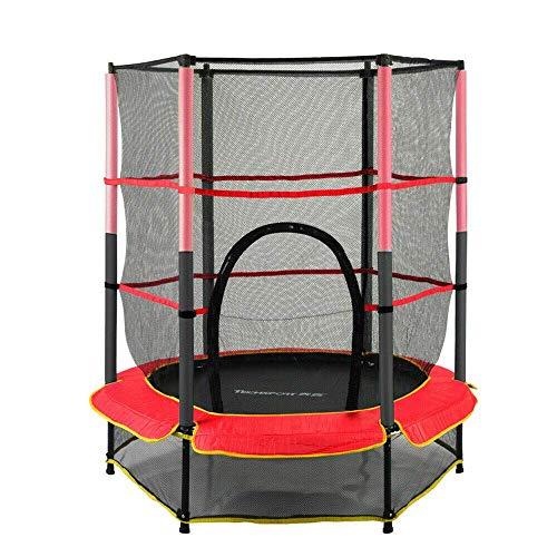 Cama elástica infantil con red de protección, diámetro de 140 cm, 50 kg, juego completo con red de seguridad, postes de red y cubierta para bordes, juego completo de escalera, red de fitness