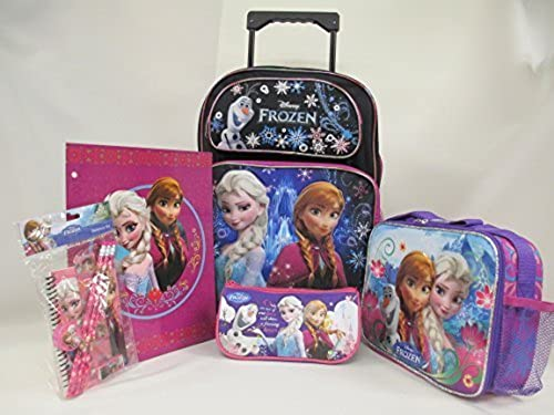 nueva gama alta exclusiva Frozen Disney Large 16 16 16  Rolling Backpack Roller Book Bag, Lunch Box, Pencil Pouch, Folder & Stationery Set by Bag2School  sin mínimo