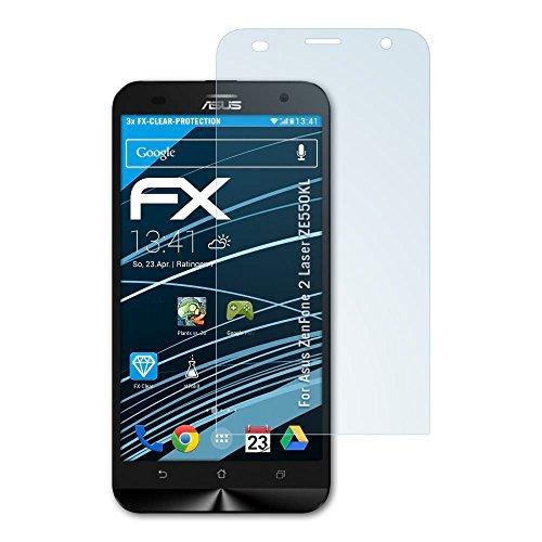 atFolix Schutzfolie kompatibel mit Asus ZenFone 2 Laser ZE550KL Folie, ultraklare FX Bildschirmschutzfolie (3X)
