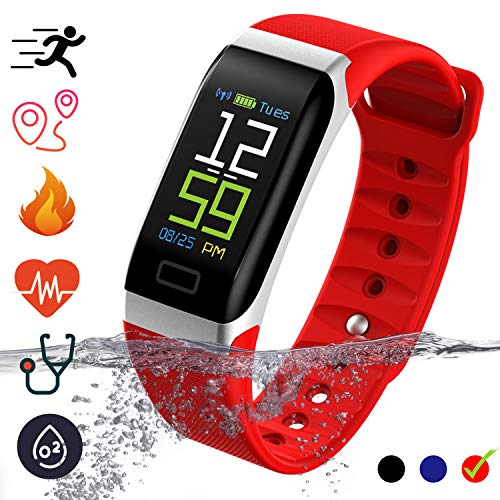Fitness Tracker Smartwatch - IP68 Waterproof with Pedometer Calorie Counter Heart Rate Monitor Blood Pressure Activity Tracker Smart Bracelet Compatible for iOS & Android Smartphones (Rojo)