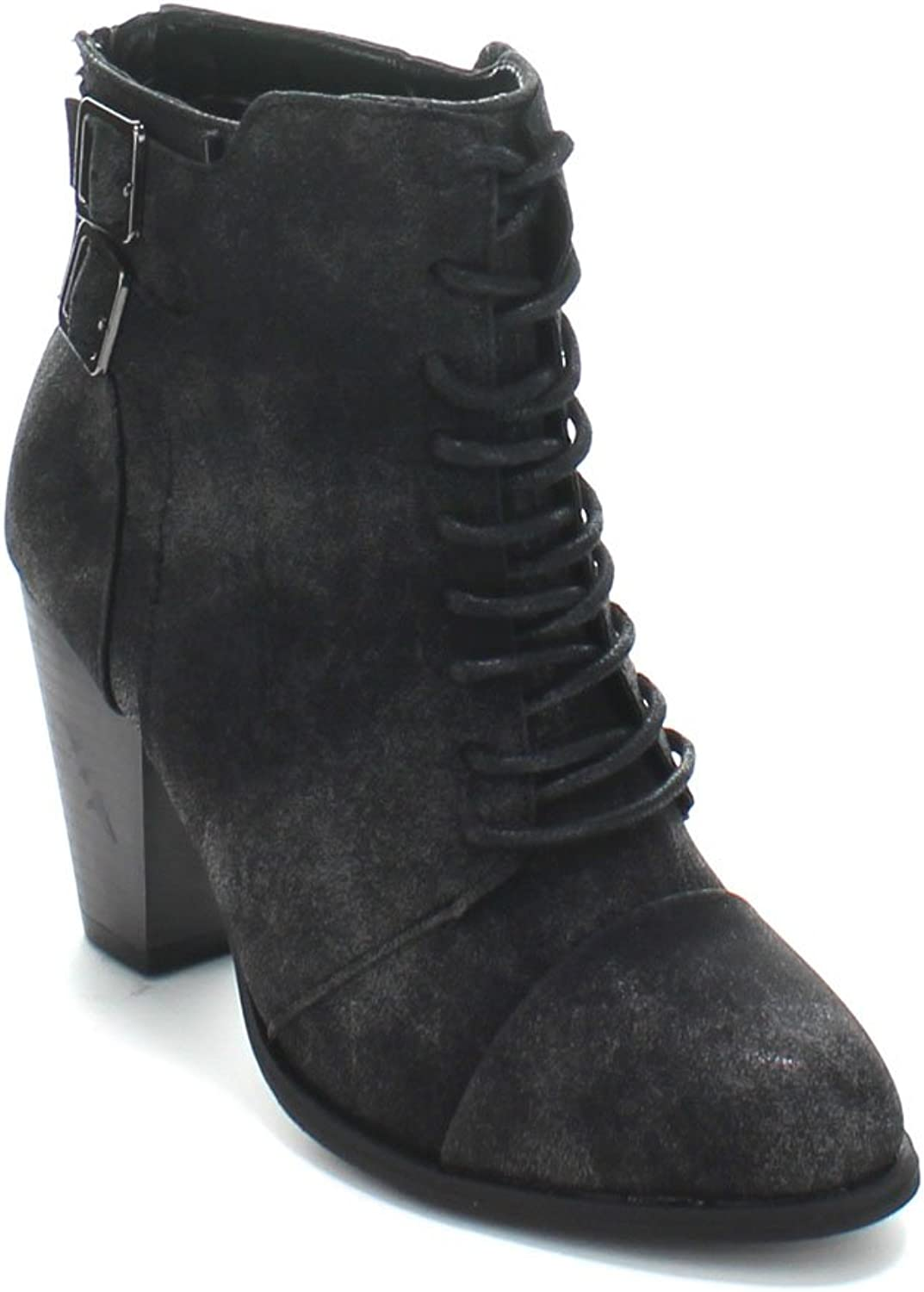 Forever Camila-63 Womens Chunky Heel Adjustable Buckle Lace Up Ankle Booties,Black,7