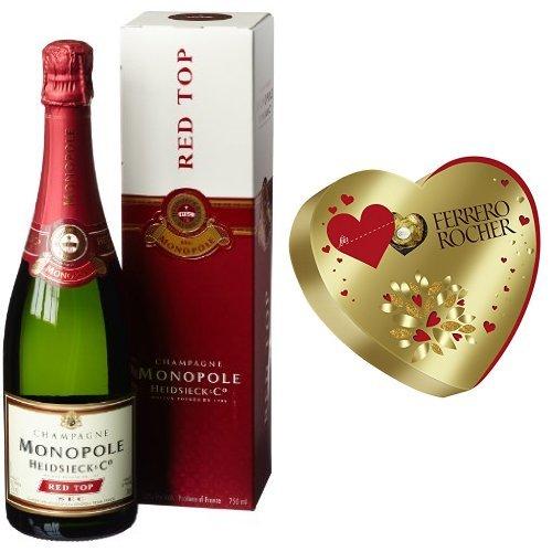 Heidsieck & Co. Monopole Red Top Sec Champagner mit Geschenkverpackung (1 x 0.75 l) + Ferrero Rocher Herz, (1 x 125 g)