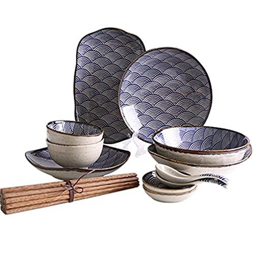 HKX Juego de Platos/Plato/Cuenco, 12 Piezas de vajilla de Porcelana con patrón Ondulado, Cuencos de cerámica, Plato de Cena, Servicio de Cuchara para 2 Personas