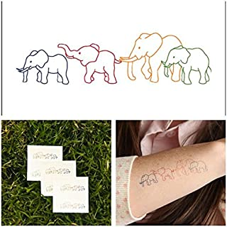 Tattify Animal Temporary Tattoo - Elephant Family (Set of 2) - Other Styles Available - Fashionable Temporary Tattoos - Long Lasting and Waterproof