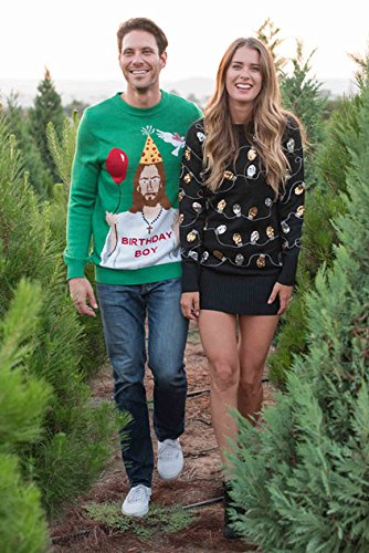 "Tipsy Elves Men's Ugly Christmas Sweater - Happy Birthday Jesus Sweater Green 4 ""****LAST CHANCE! Order Today and Save with our Lowest Priced Deals of the Holiday Season. While supplies last!****"" Tipsy Elves' ugly christmas sweaters are perfect for gifting to all of your friends but most importantly, yourself! Whether you're inside, outside, together or apart, or even stuck in a virtual meeting, whenever you rock your Tipsy Elves gear no one will ever doubt the ferocity of your festive fury. Tipsy Elves' hilariously ugly sweaters are a perfect gift this holiday season, why wait to share the love when you and your friends and family can make everyone laugh with one of our funny sweaters. Whether you're celebrating and matching in person or just catching up online, Tipsy Elves' hilarious holiday clothing will keep everyone looking cozy and warm!"