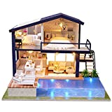 Doll House Miniatura DIY Handcraft 3D Kit de casa de muñecas de Madera con Muebles Luz LED House Room Modelo Doll Play Set Niños Grils Boys Toy(Sin sobrecubierta)