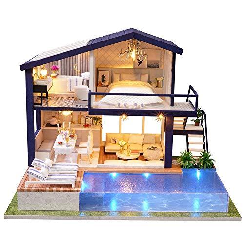 Puppenhaus Miniatur DIY Handwerk 3D Holz Puppenhaus Kit mit Möbel LED Licht Haus Zimmer Modell Puppe Spielset Kinder Grils Jungen Spielzeug(Ohne Schutzumschlag)