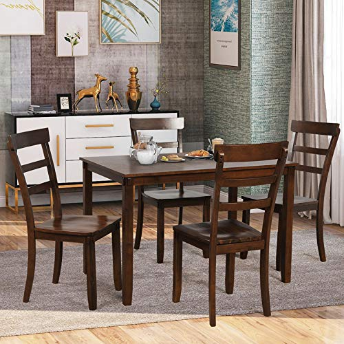 P PURLOVE 5 Piece Dining Table Set Wood Dining Room Table and 4 Chairs Retro Style Kitchen Table Set for 4 Persons, Retro Brown