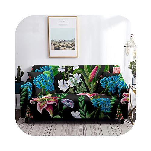 Sofa Covers CQ08-2- Seater 145-185 cm - Funda de sofá con diseño de hojas de poliéster elástico para salón, sillón, sofás, toallas, 1/2/3/4 asiento.