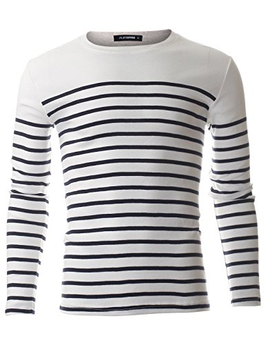 FLATSEVEN Men's Slim Fit Casual Horizontal Striped Cotton Long Sleeve T-shirt (TRL3009) White, L