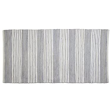 tag - Chindi Stripe Runner Rug, Add Some Style to Your Home, Light Blue (60  x 30 )