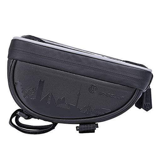 YUYAXBG Fashion Bike Frame Bag Met Touchscreen Dubbele Rits Fietstas Gemakkelijk te verwijderen en Installatie Geschikt voor Short Ride Compatibel Met Smartphone Onder 6.0 Inch Fietstas, zwart