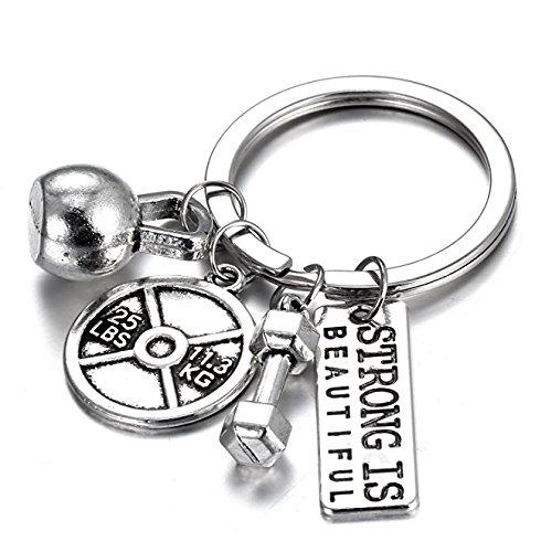 yichahu Gmai Fitness-Schlüsselanhänger mit Zitaten, Hantelscheibe, Kurzhantel und Kugelhantel