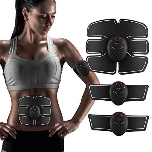 CE Electroestimulador Muscular Abdominales HURRISE Masajeador Eléctrico Cinturón, Abdomen / Brazo / Piernas / Cintura Entrenador Muscular, USB Recargable, 15 Niveles de Intensidad (Hombre / Mujer)