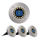 Luci Solare Giardino LED,POWERAXIS Luci Solari Faretti Da Terra Esterno 16 LED Impermeabil...