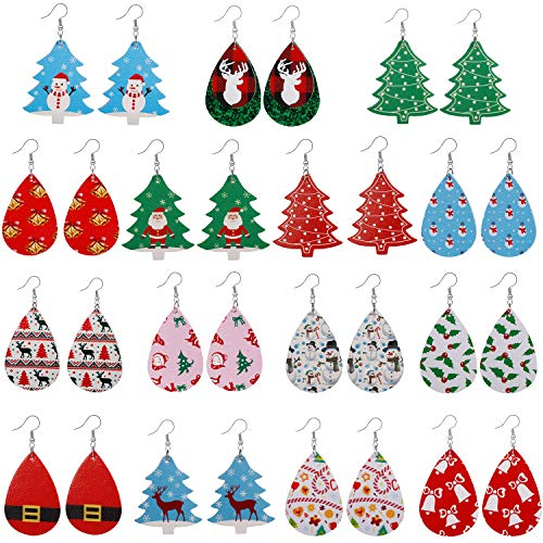 15 Pairs Christmas Earrings Faux Leather Earrings for Women- White Christmas Gfit for Teen Girls-Teardrop Long Dangle Earrings Lightweight Christmas Tree Earrings Christmas Party Costume Decorations