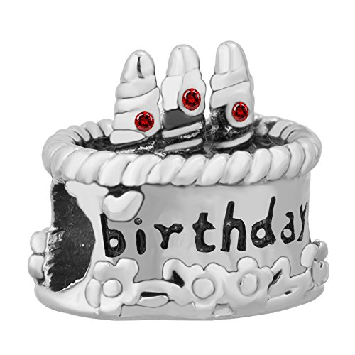 UNIQUEEN Happy Birthday Cake Charms with Swarovski Element Crystal Beads Fit Bracelet Gifts