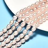 Perlas de agua dulce, perlas cultivadas de 8 mm, color albarroco, grano de arroz natural, ovalado, barroco, perlas de concha, piedras preciosas para enhebrar, perlas de agua fresca.
