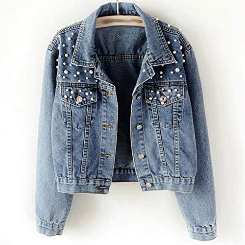 RYSLJJWCZ Spring Pearl Perlen Crop Denim Jacken Frauen 5XL Casual Jeans Bomberjacke Langarm Denim Mantel Plus Size-Farbe1_4XL