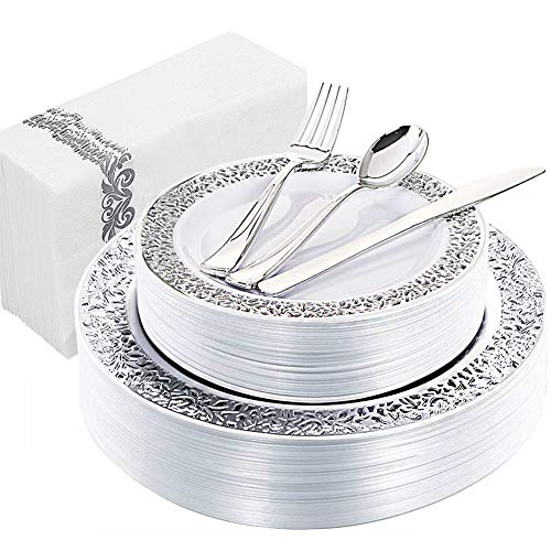 WDF 150PCS Silver Plastic Plates with Disposable Plastic Silverware&Hand Napkins, Lace Design include 25 Dinner Plates,25 Salad Plates,25 Forks, 25 Knives, 25 Spoons,25Disposable Napkins