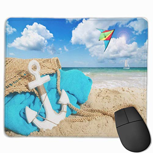 Gaming Mouse Pad,Desk Mousepad,Mouse Pads voor Laptop Computers,Mouse Mat Beach in het zand handdoek en vliegende Kite over