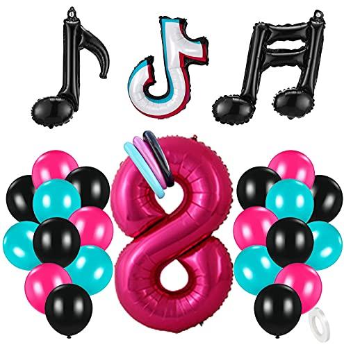 8 Años Decoración de Cumpleaños Fiesta de Música Gigante Número 8 (100 CM) Decoración de Fiesta Musical de Tik Tok Globos de Látex Lámina Azul Tiffany para Adultos Niños Niñas