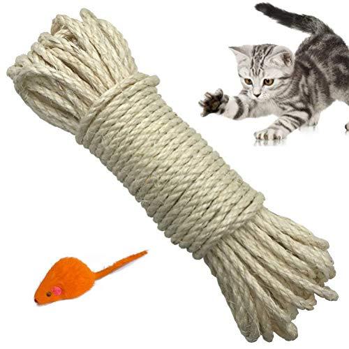 Yangbaga Sisalseil für Kratzbaum 6mm Ersatz Alte DIY Zubehör String Ideal für Den Austausch Katze Baum Griffoir (10 m, Weiß)