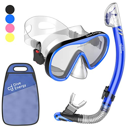 2020 Snorkel Set for Men and Women with Adjustable Dual Strap - Enjoy Swimming, Snorkeling and Scuba Diving with Anti-Fog Tempered Glass Mask & No Leaks Dry Top Snorkel with Silicon Mouth Piece + Bag