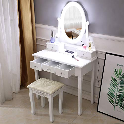 Great Deal! Dongtu Dresser for Makeup Vanity Table Ship from USA Warehouse (White4)