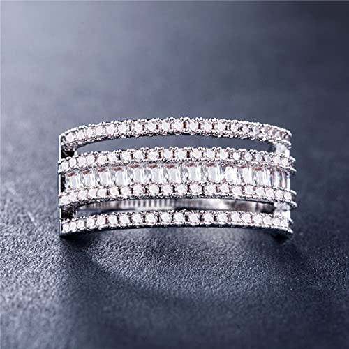 DJMJHG Boho Open Ring For Women Fashionable Moon&Star Jewelry Female Cz Ring Sets Dropshipping 9 White