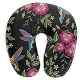 Bebé en forma de U almohada bordado colibrí con flores gloriosas en forma de U almohada de espuma de memoria protector de cuello almohada de cabeza soporte almohada de viaje cervical almohada de cuell