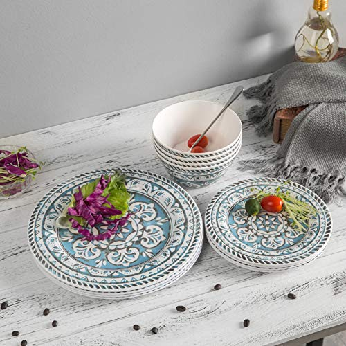 12 Piece Melamine Dinnerware set - Melamine Dishes Set, Service For 4, Dishwasher Safe,Indoor/Outdoor