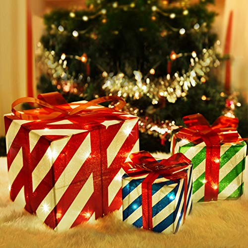 Rocinha Set of 3 Lighted Gift Boxes Christmas Box Decorations, Red Green and Blue Lit Present Boxes The Best Christmas Yard&Home Décor (80 Lights)