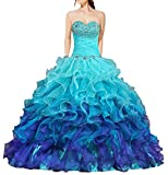 ANTS Women's Gorgeous Strapless Rainbow Quinceanera Dresses Ruffle Prom Gowns Size 16 US Turquoise