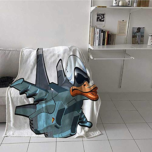 painting-home Blanket Jet Bird Angry Comic Aircraft Army German Pilot Helmet Duckling Funny Character Image Summer Lightweight Blanket for Adults, Kids, Couch Grey White (72 x 54 Inches)