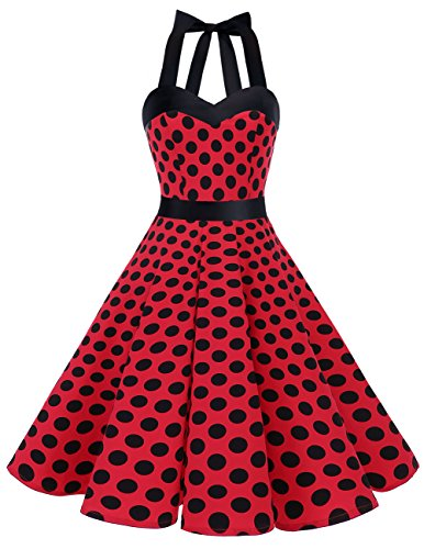 DRESSTELLS Neckholder Rockabilly 1950er Polka Dots Punkte Vintage Retro Cocktailkleid Petticoat Faltenrock Red Black Dot M