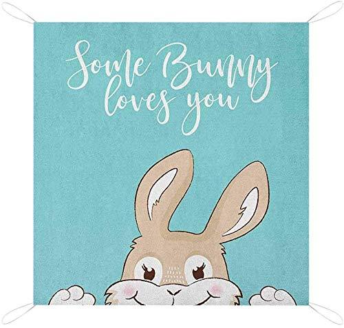 Nomorer - Alfombrilla de pícnic con cita de conejo, texto y un conejo divertido con una manta de picnic con estampado de sonrisa, color azul pálido y blanco para pícnic