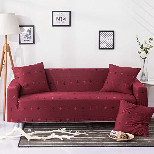 BKHBJ Funda de sofá elástica geométrica para Sala de Estar Sofá de Esquina seccional Funda de sofá Funda de sofá Protector de Silla 1/2/3/4 plazas-Nolan Cruces Rojas_1 Plaza 90-140cm_China