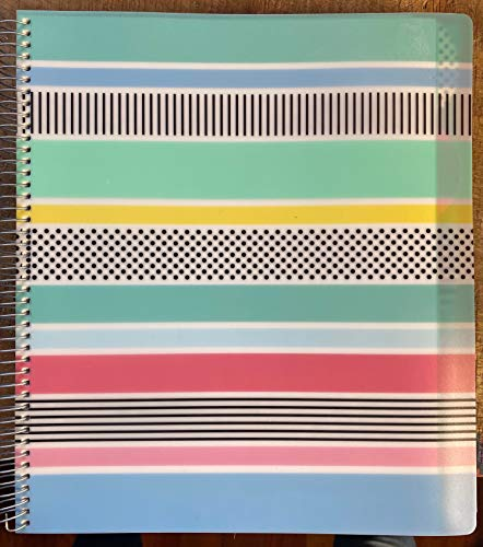 Studio C(R) Pattern Play Notebook, 11in. x 9in., 5 Subjects, College Ruled, 300 Pages (150 Sheets), Assorted Colors