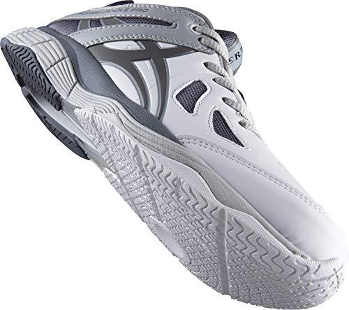 Gilbert Flare Junior - Zapatillas de netball, color blanco, gris y gris