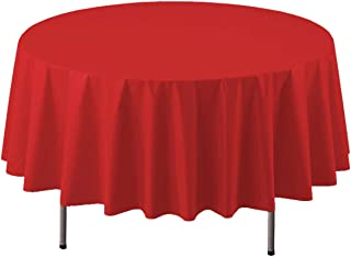"Party Essentials ValuMost Round Plastic Table Cover Available in 16 Colors, 84"", Red"