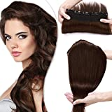 SEGO Extension Cheveux Humain a Clip Monobande Meche [ Volume Epais ] - 55 CM 04#Marron Chocolat - Rajout Naturel Bande Remy Hair (Une Piece 5 Clips)